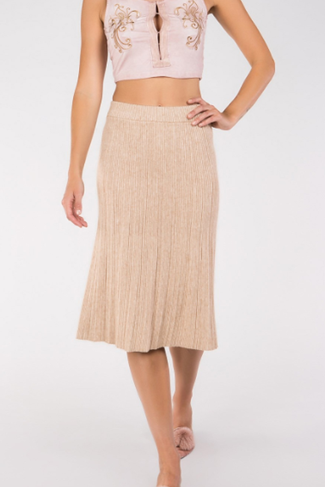 POL Knit Sweater Midi Skirt - Front Cropped Image