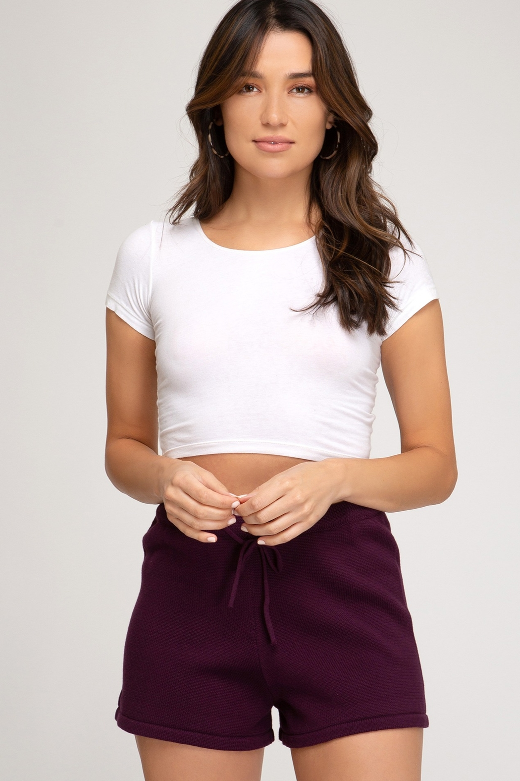 She + Sky Knit Sweater Short - Front Cropped Image