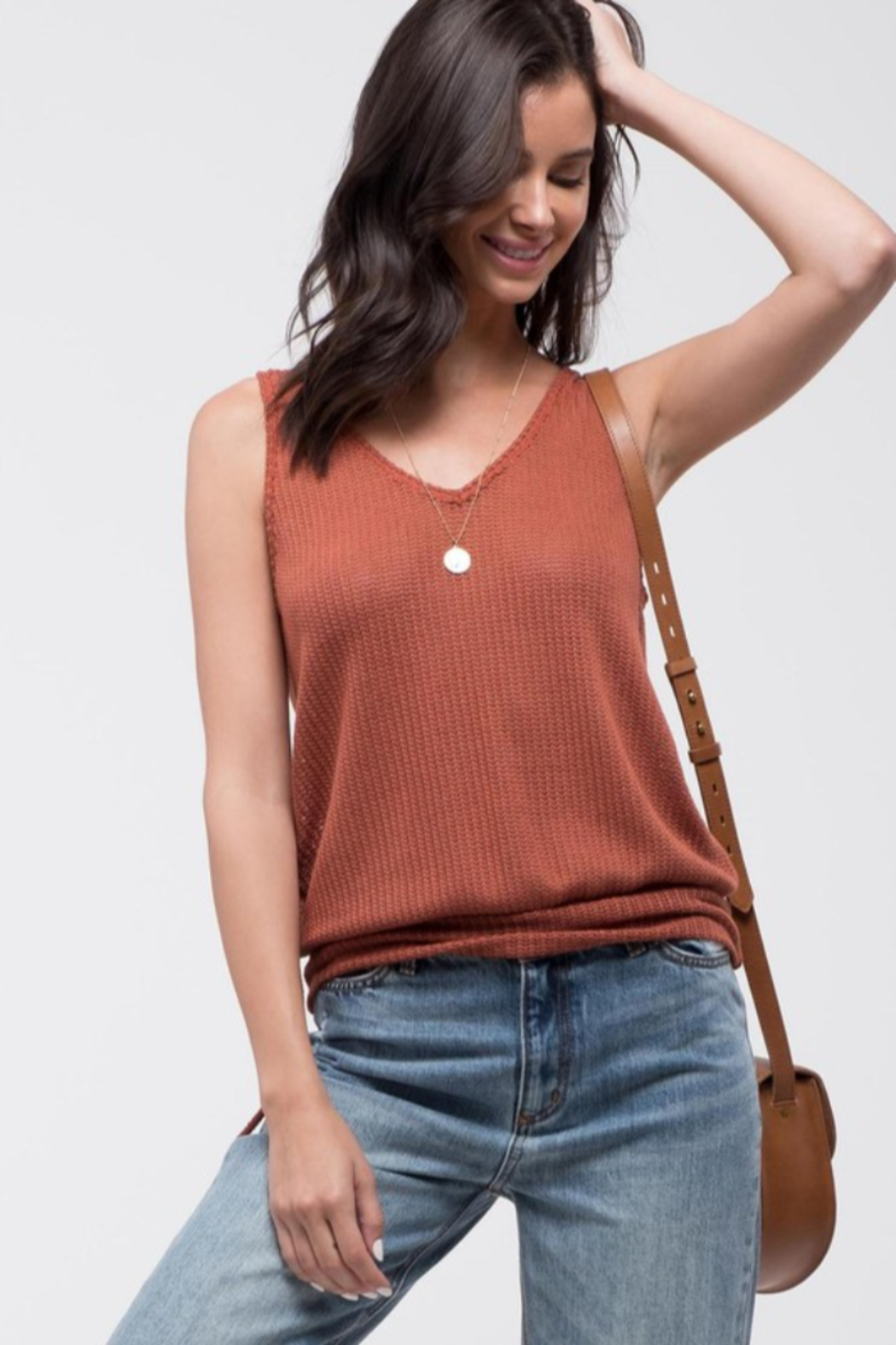 blu Pepper  Knit Sweater Tank with Open Back - Front Full Image