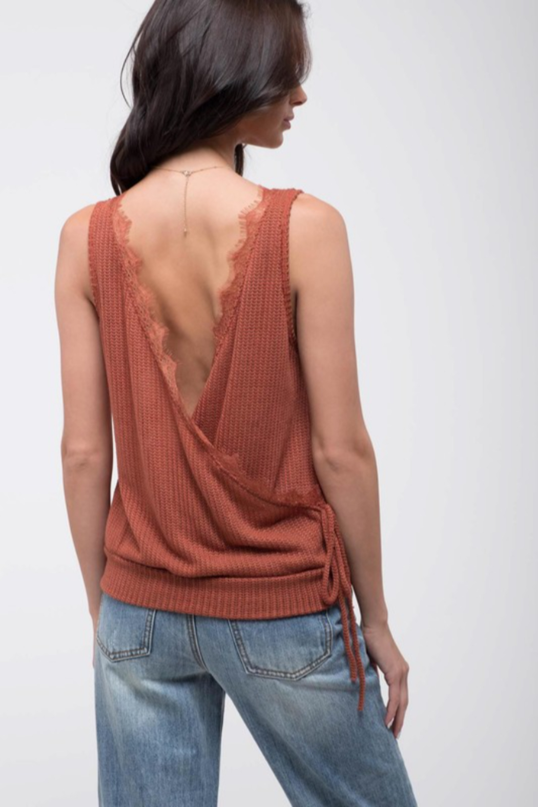 blu Pepper  Knit Sweater Tank with Open Back - Main Image