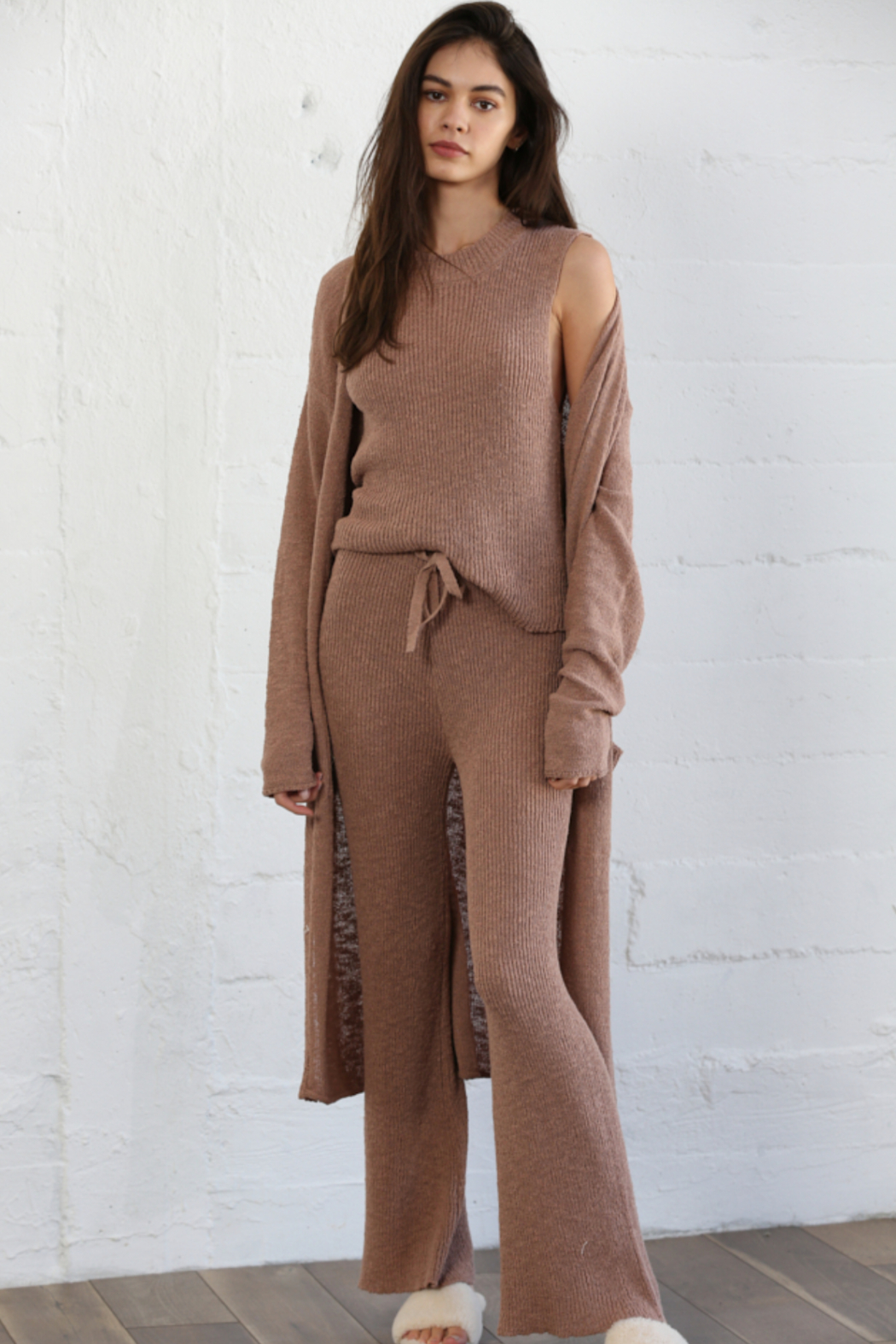 By Together Knit Sweater Waist Pants - Side Cropped Image