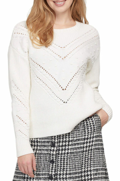 Shoptiques Product: Knit Sweater with Pom Pom Accent