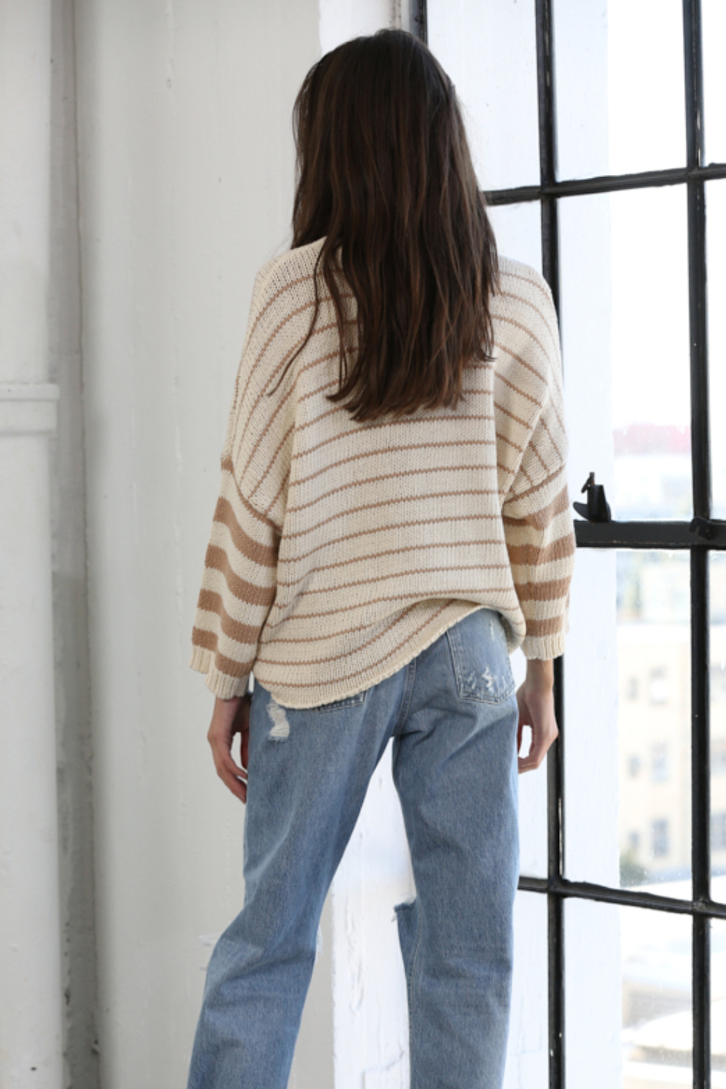 By Together Knit Sweater with Stripes - Front Full Image