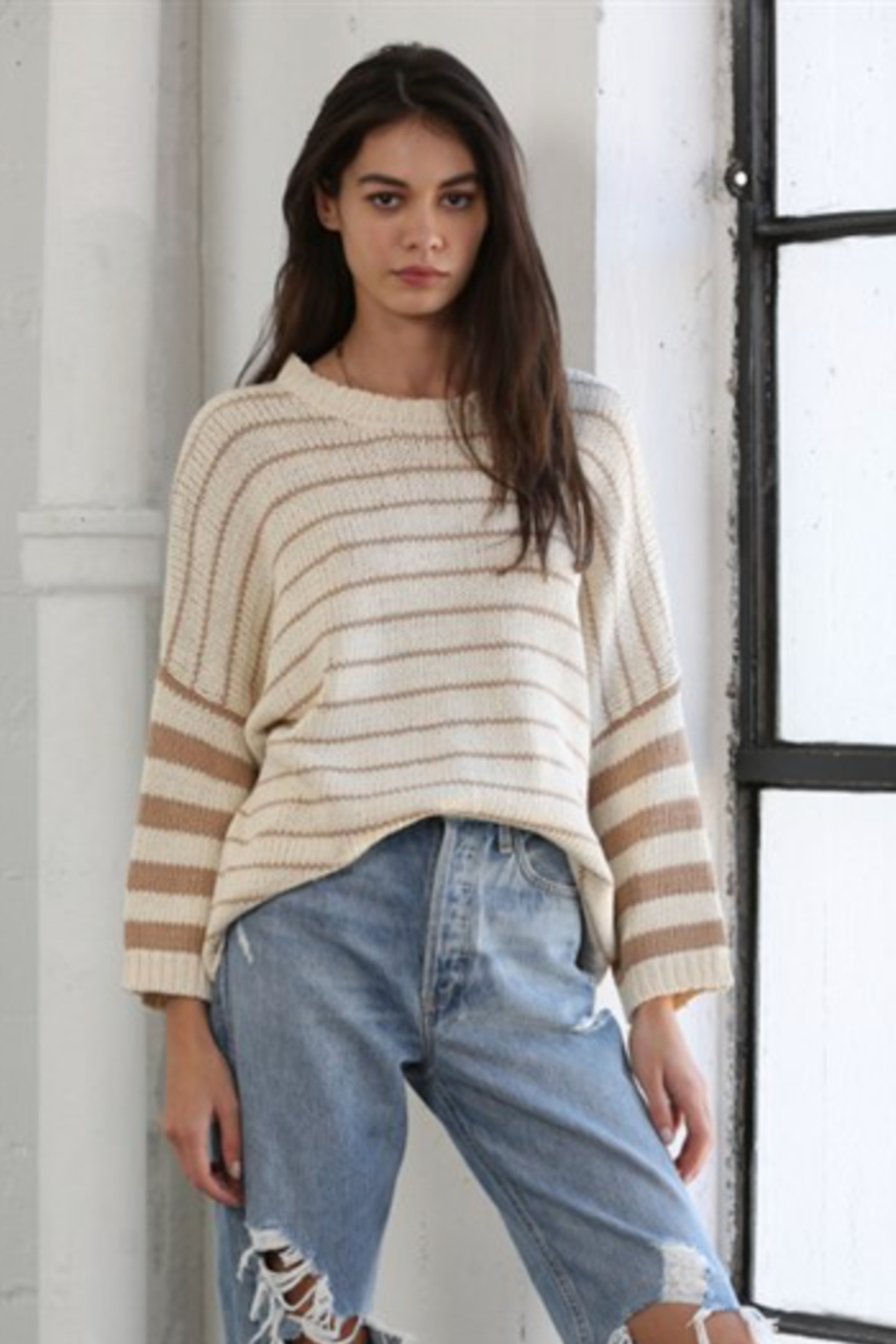 By Together Knit Sweater with Stripes - Main Image