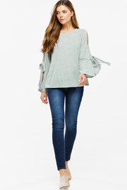 MONTREZ KNIT TIE SLEEVE BOHO TOP - Product Mini Image