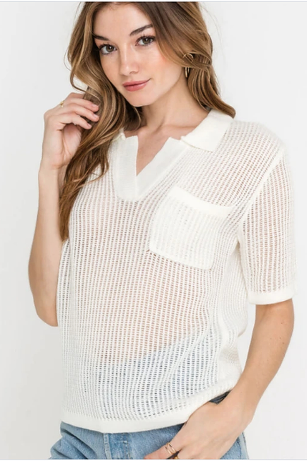 Lush Clothing  Knit top - Front Full Image