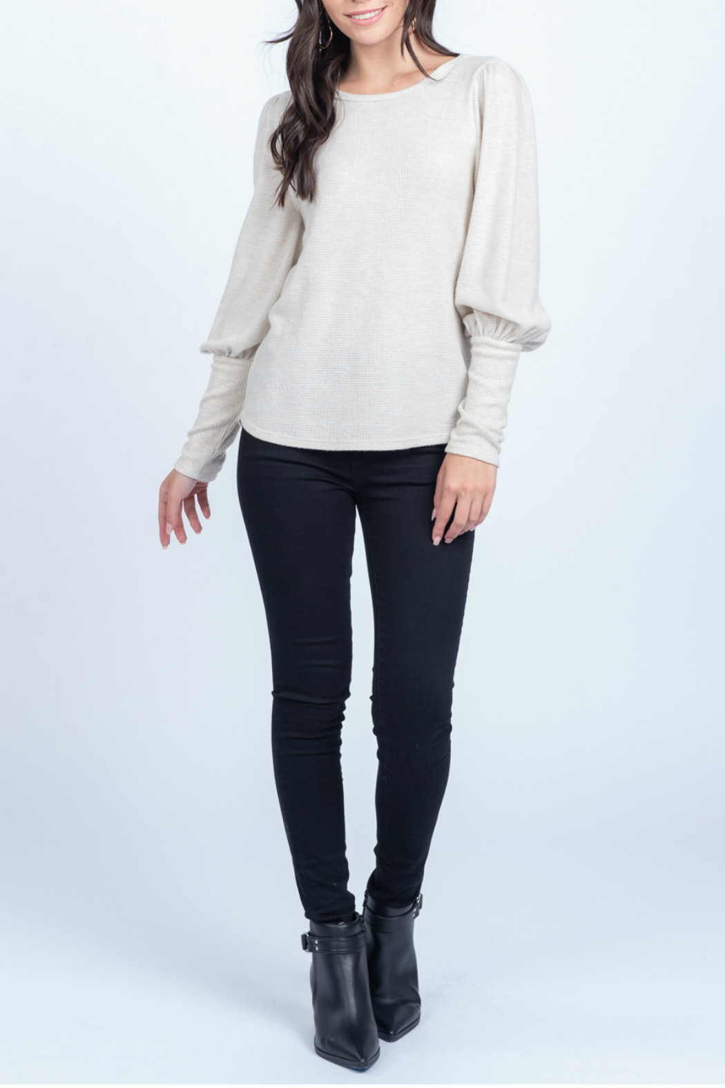 Everly Knit top with cuff detail - Main Image