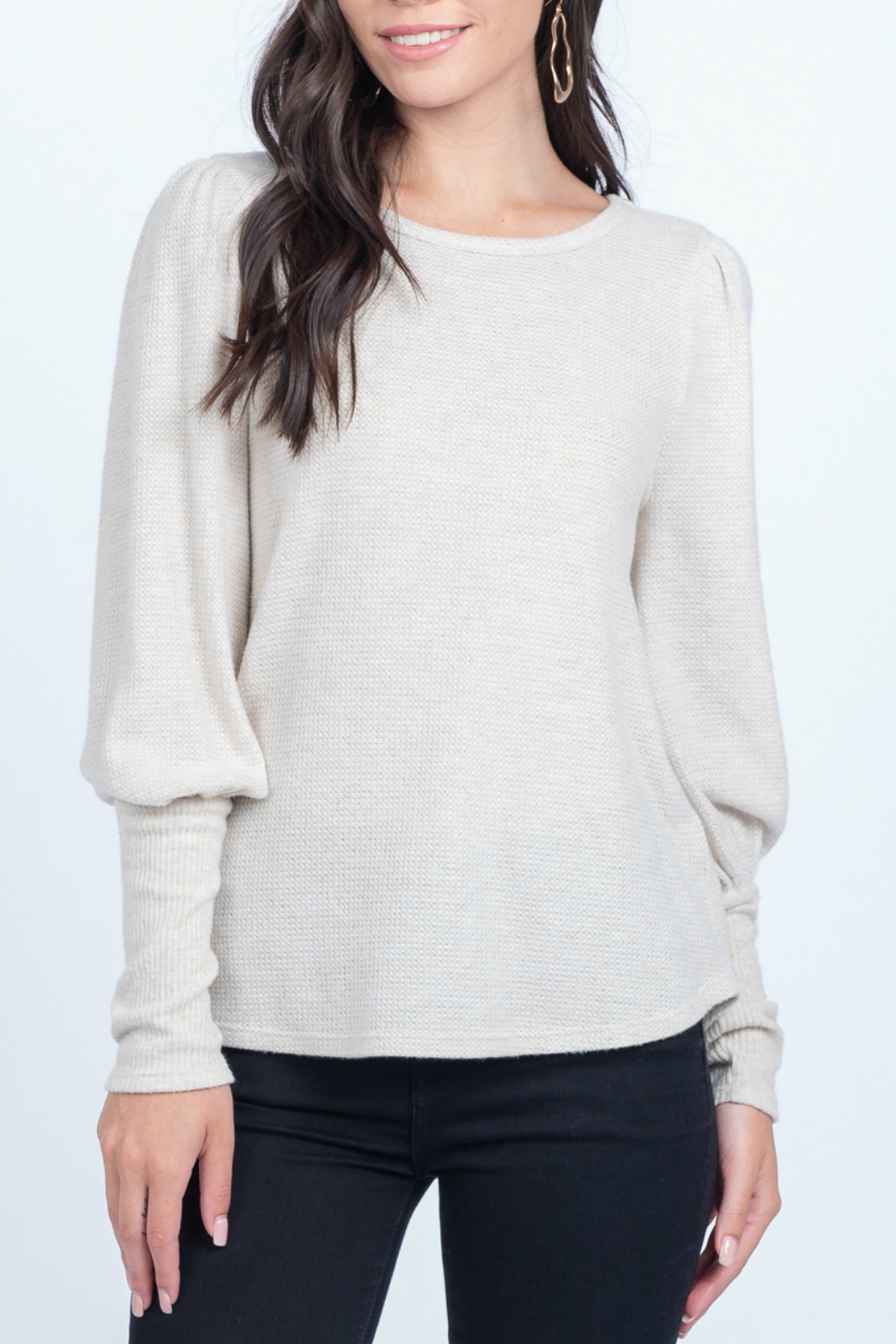 Everly Knit top with cuff detail - Side Cropped Image