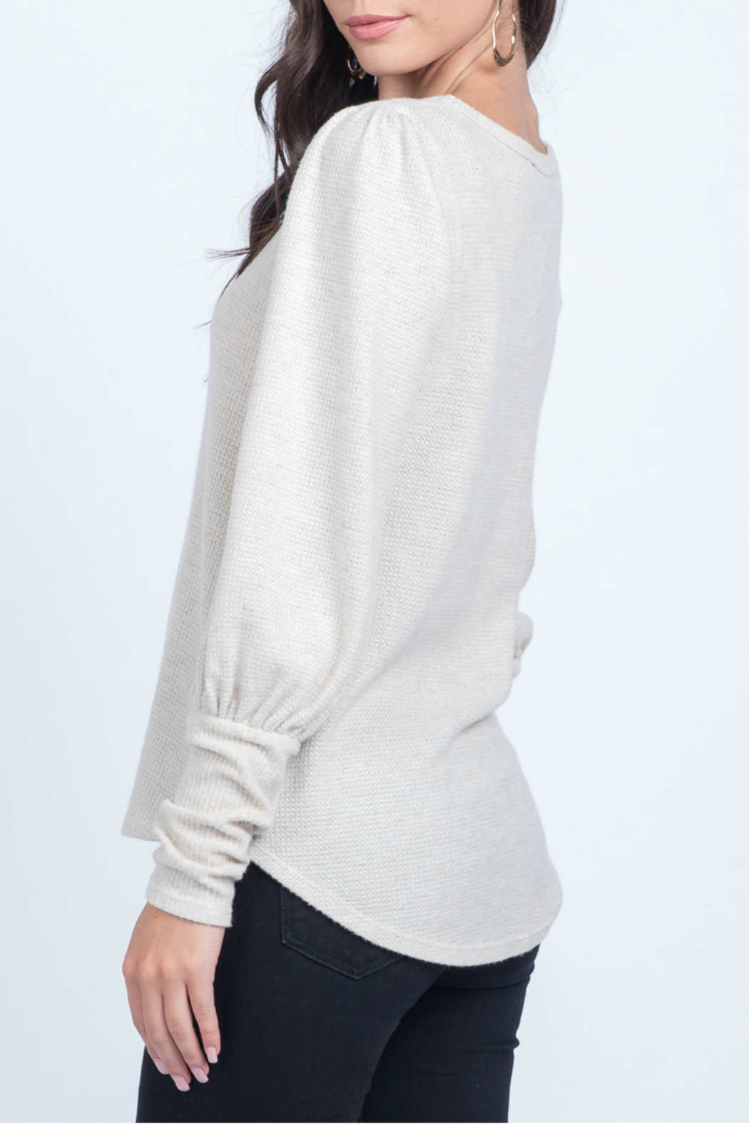Everly Knit top with cuff detail - Front Full Image