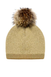 Mitchies Matching Knit Wool Hat - Raccoon Pom - Product Mini Image