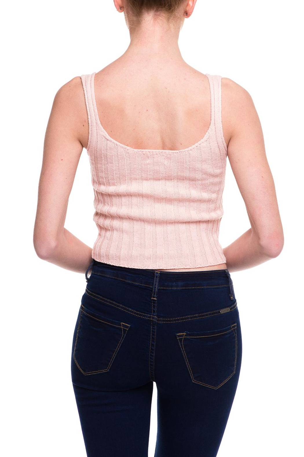 debut Knitted Buttoned Tank - Back Cropped Image