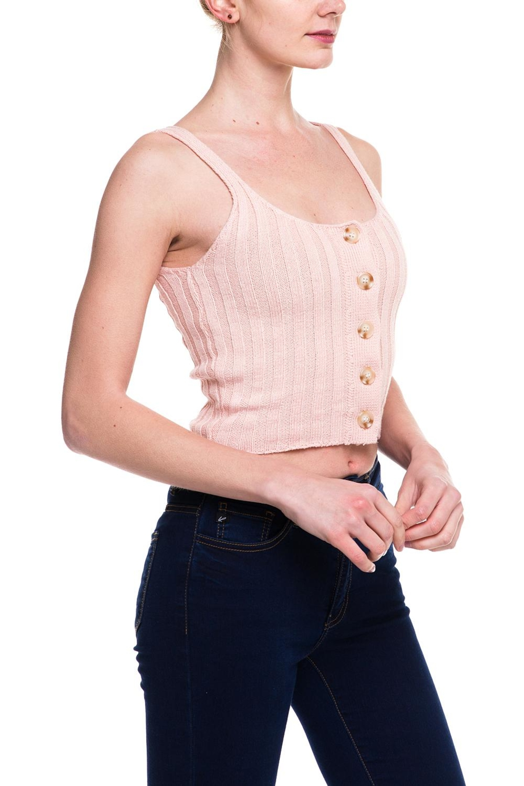 debut Knitted Buttoned Tank - Front Full Image