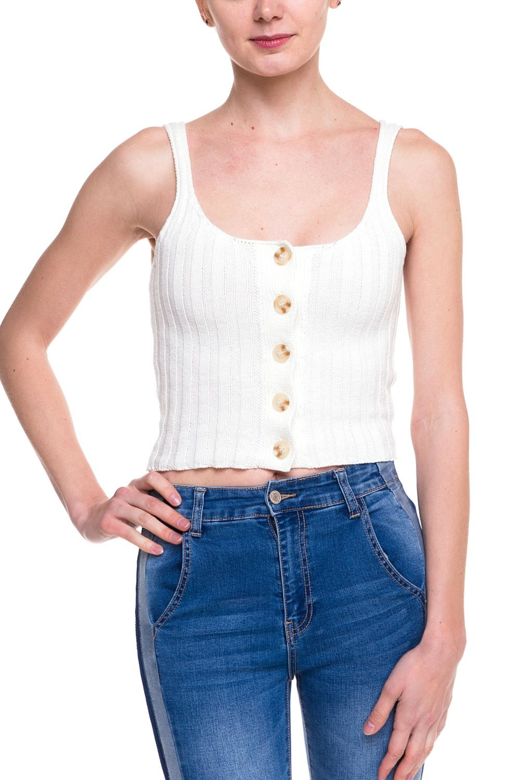 debut Knitted Buttoned Tank - Front Cropped Image