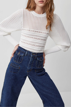 French Connection Knitted Detail Puff Sleeve Jumper - Product List Image