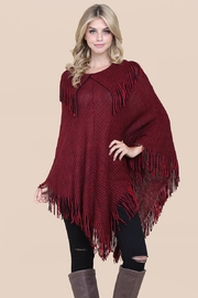 Riah Fashion Knitted-Fringe Cape Poncho - Product Mini Image