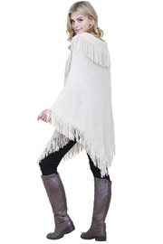 Riah Fashion Knitted-Fringe Cape Poncho - Side cropped