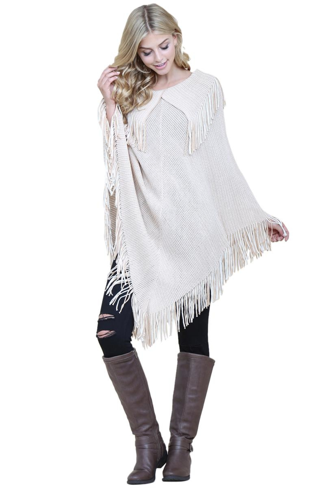 Riah Fashion Knitted-Fringe Cape Poncho - Front Cropped Image