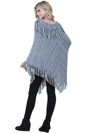 Riah Fashion Knitted-Fringe Cape Poncho - Front full body