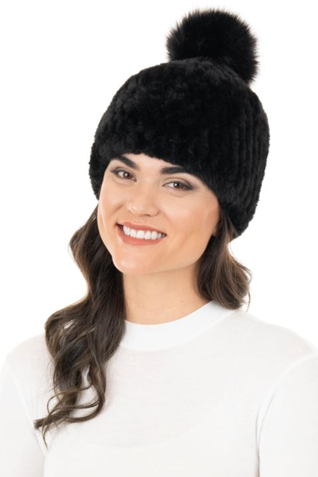 Fabulous Furs Knitted Fur Pom Hat - Main Image