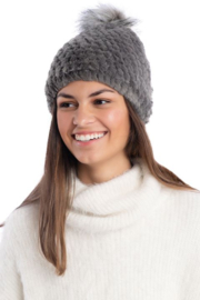 Fabulous Furs Knitted Fur Pom Hat - Front cropped