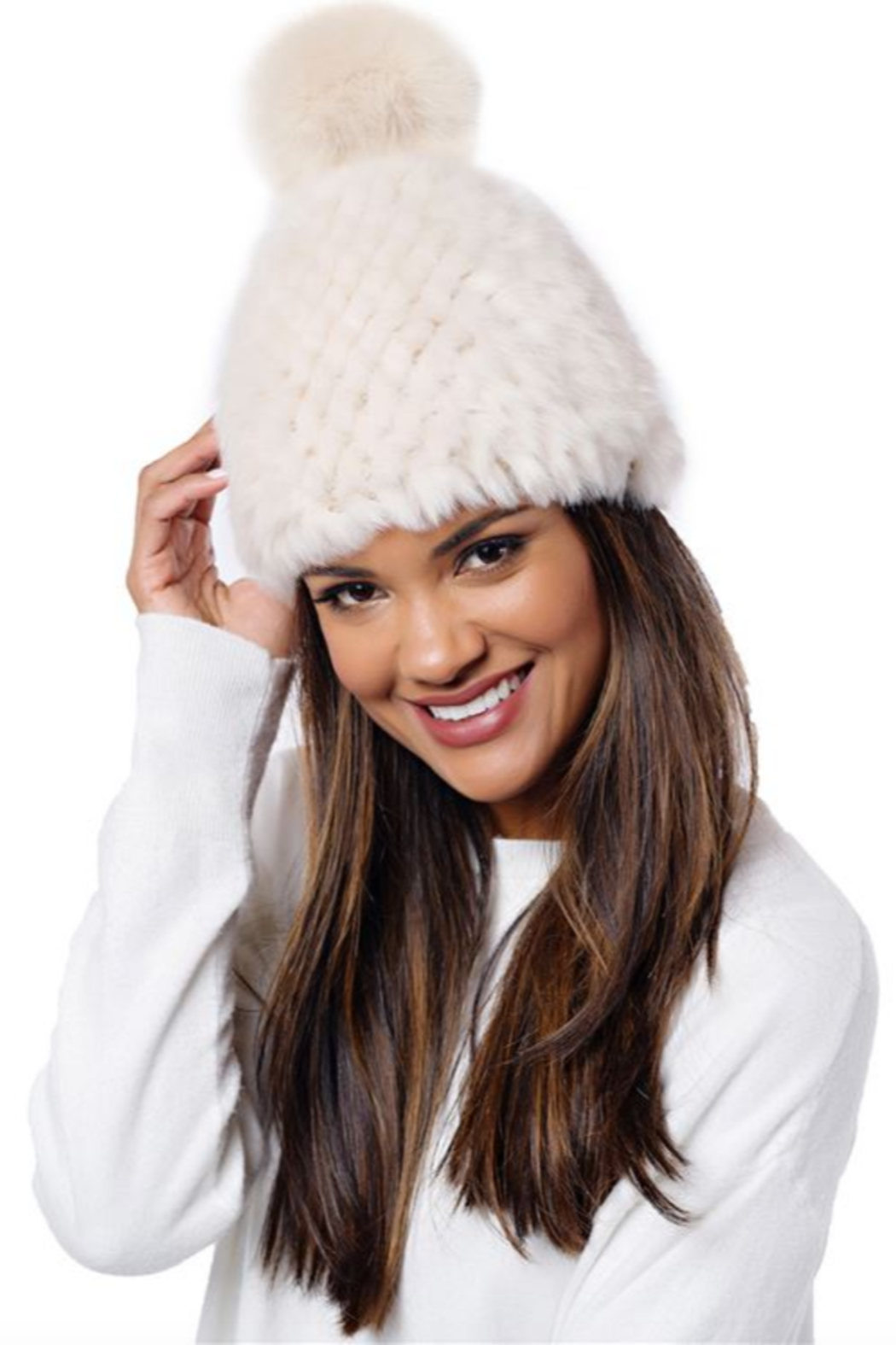 Fabulous Furs Knitted Fur Pom Hat - Front Cropped Image