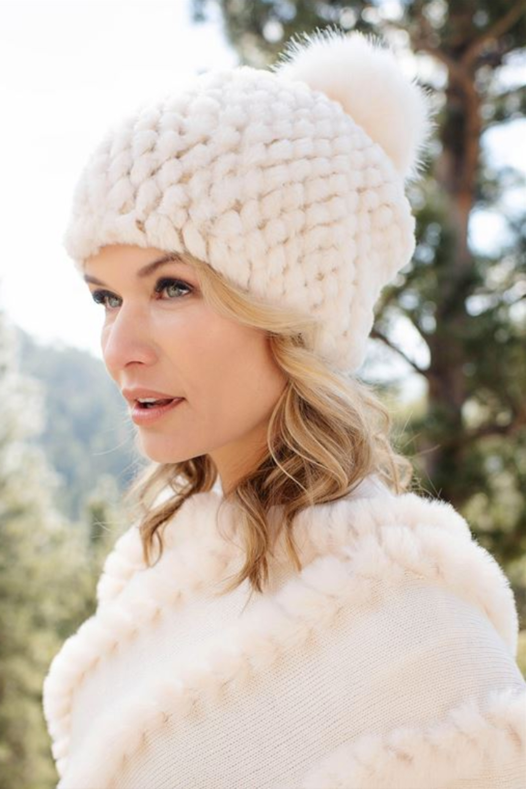 Fabulous Furs Knitted Fur Pom Hat - Front Full Image