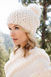 Fabulous Furs Knitted Fur Pom Hat - Front full body