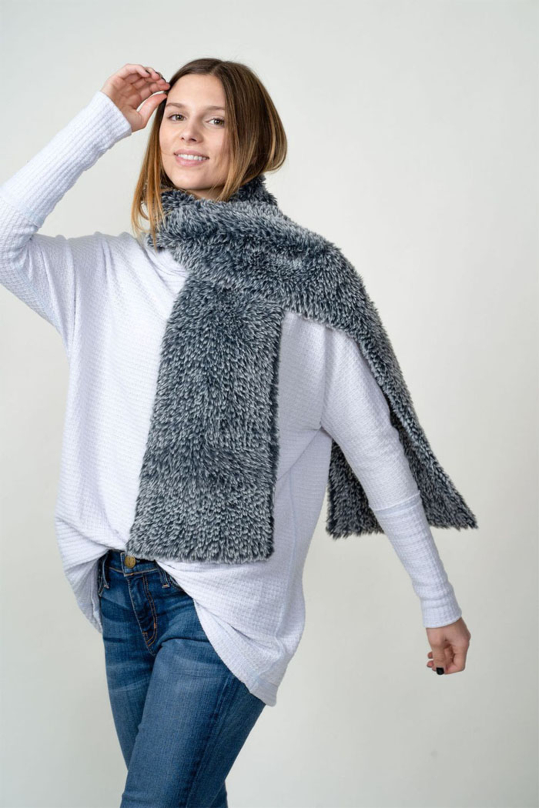Dylan knitted Fur Scarf - Main Image