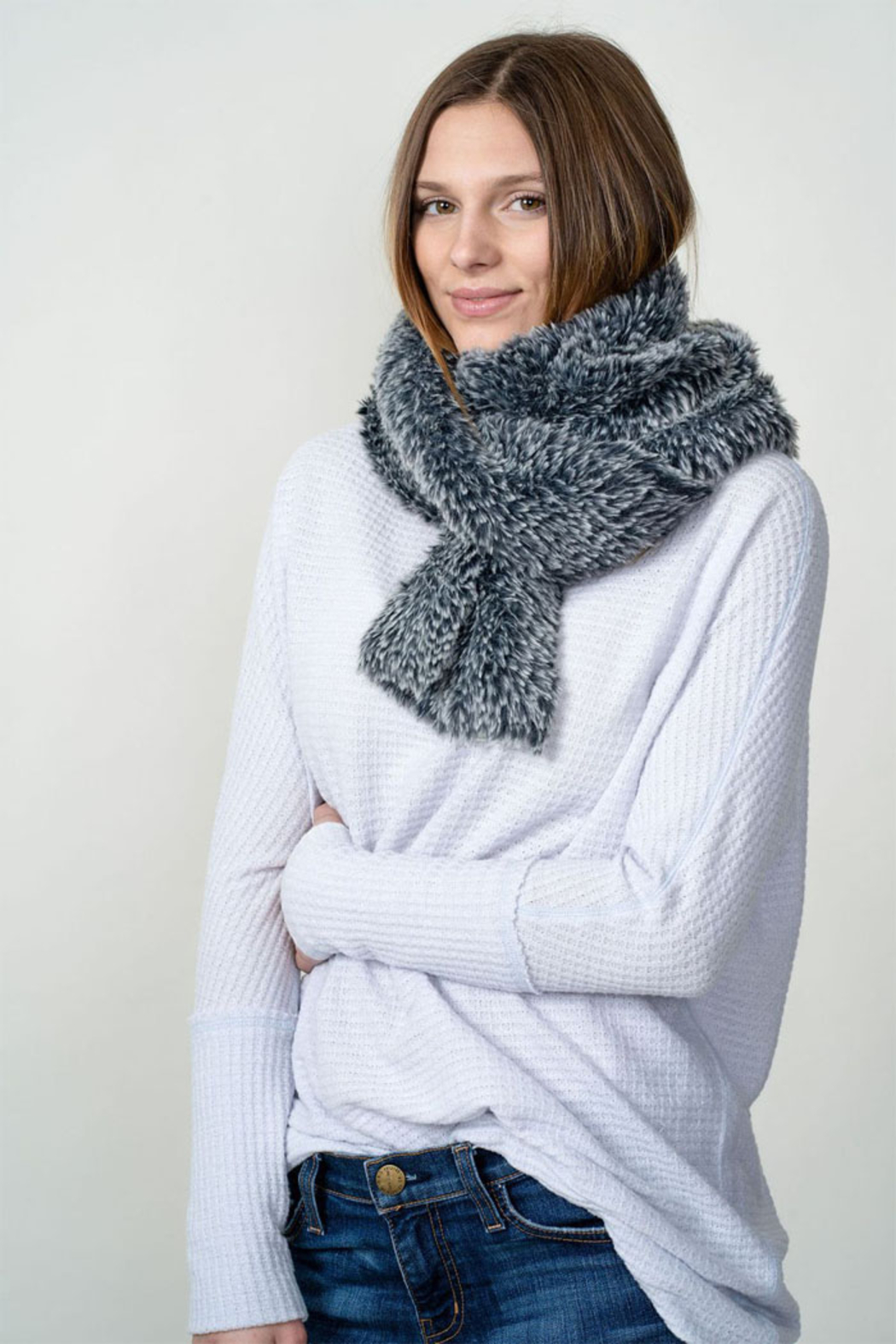 Dylan knitted Fur Scarf - Front Full Image