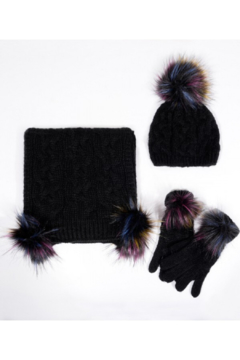 Shoptiques Product: Knitted Hat, Scarf & Gloves Set
