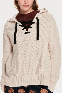 Scotch and Soda Knitted Laceup Hoodie - Product List Image