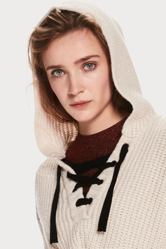 Scotch and Soda Knitted Laceup Hoodie - Alternate List Image