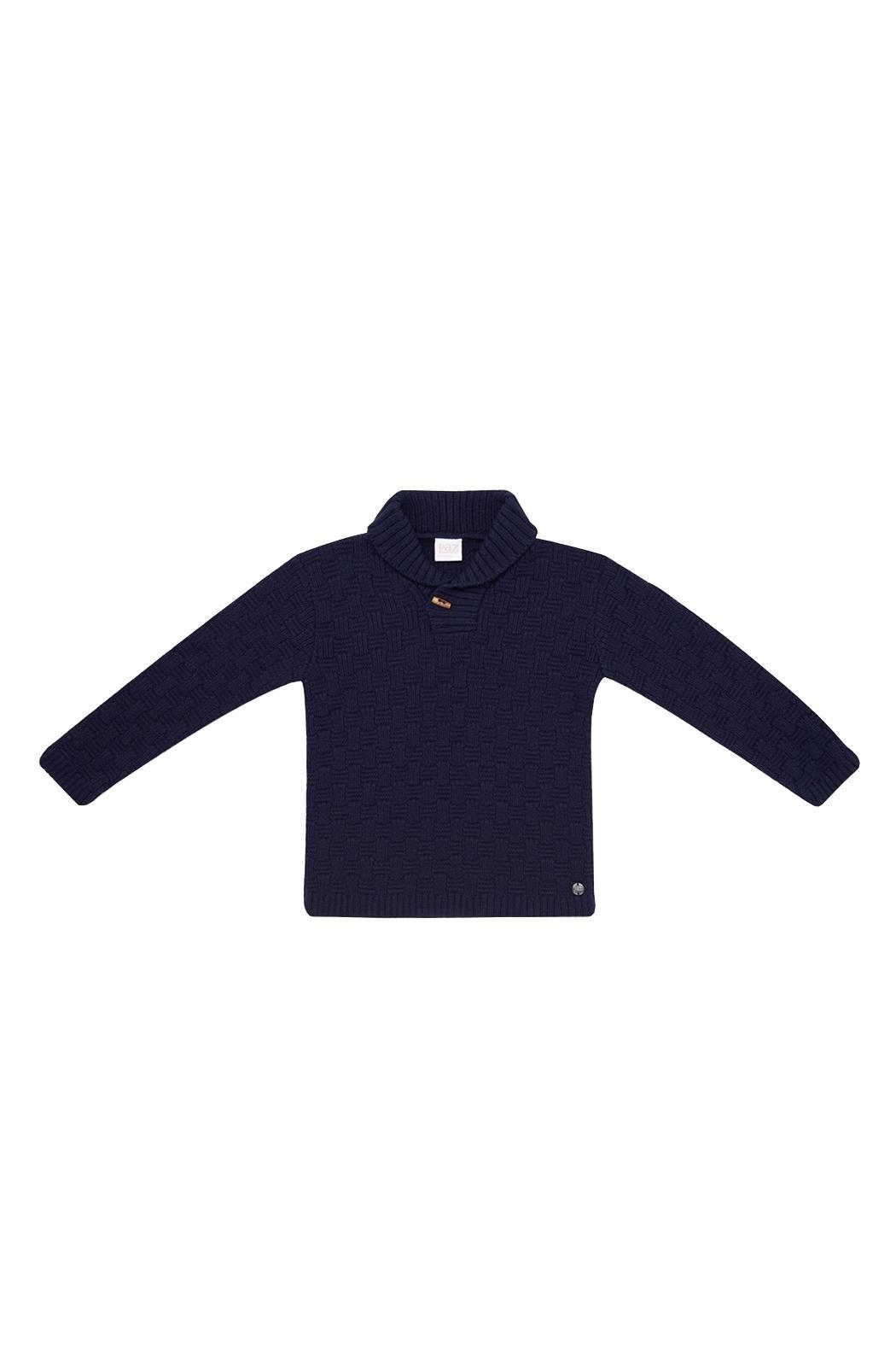 Paz Rodriguez Knitted Navy Sweater. - Front Cropped Image
