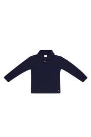 Paz Rodriguez Knitted Navy Sweater. - Front cropped