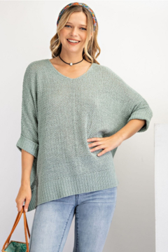 easel  Knitted Short Sleeve Sweater - Product List Image