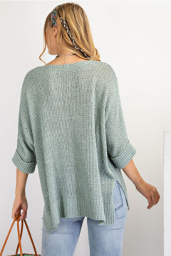 easel  Knitted Short Sleeve Sweater - Alternate List Image