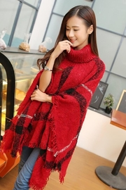 Knittrend Turtleneck Plaid Knit-Poncho - Front cropped