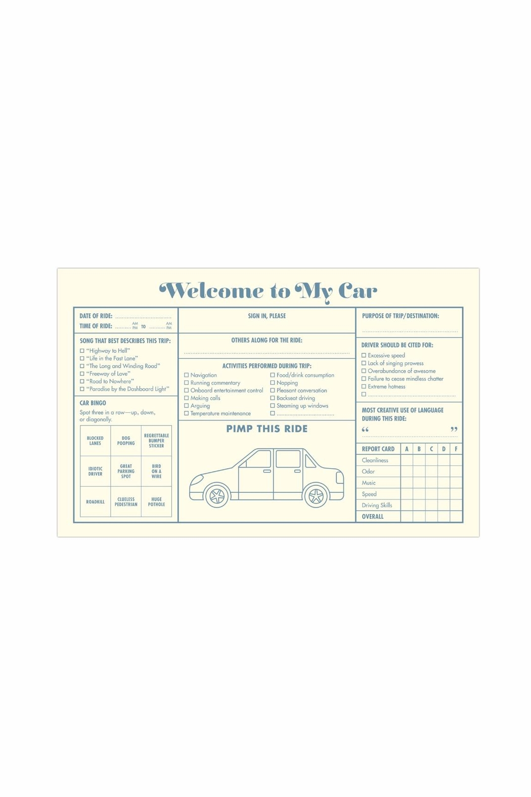 Knock Knock  Car Guest Book - Front Full Image