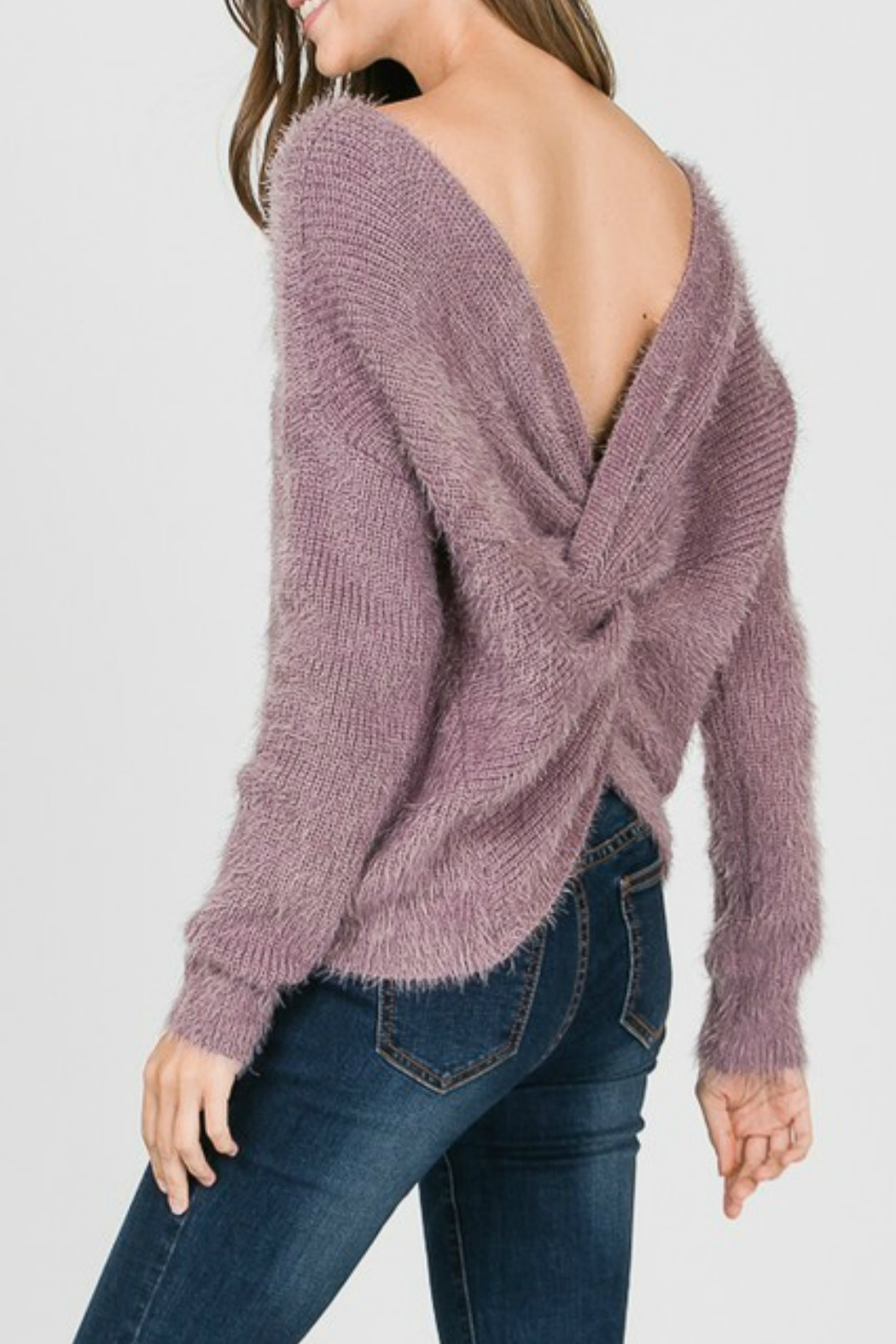 1 Style Knot Back Sweater - Front Full Image