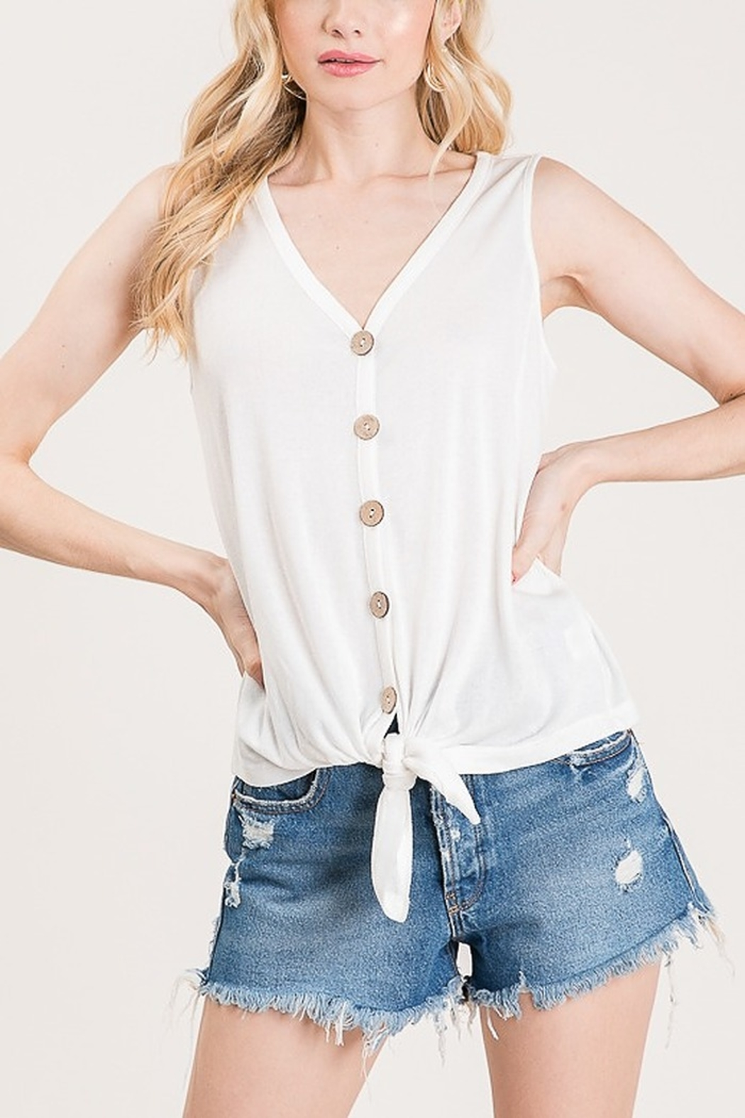 Lyn -Maree's Knot & Button Front Tank - Main Image