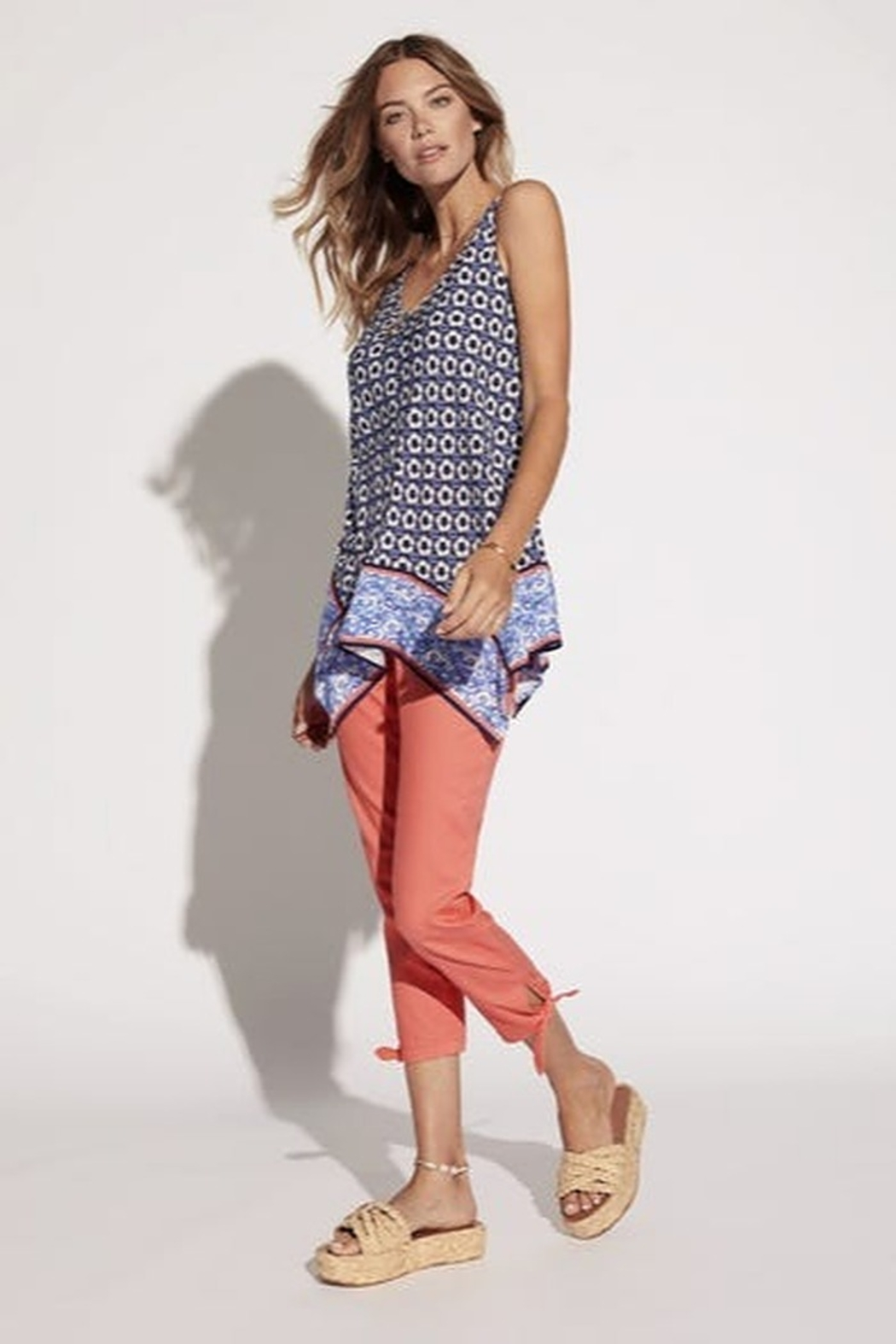 Tribal  Knot Detail Crop Pant - Front Cropped Image