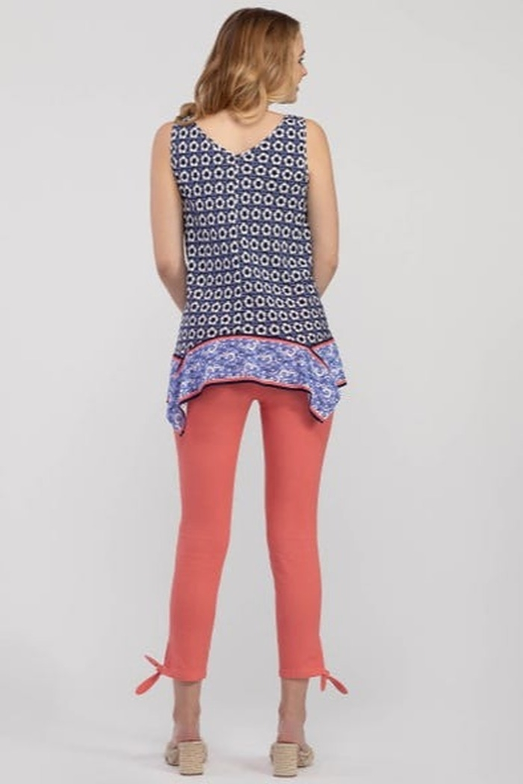 Tribal  Knot Detail Crop Pant - Front Full Image