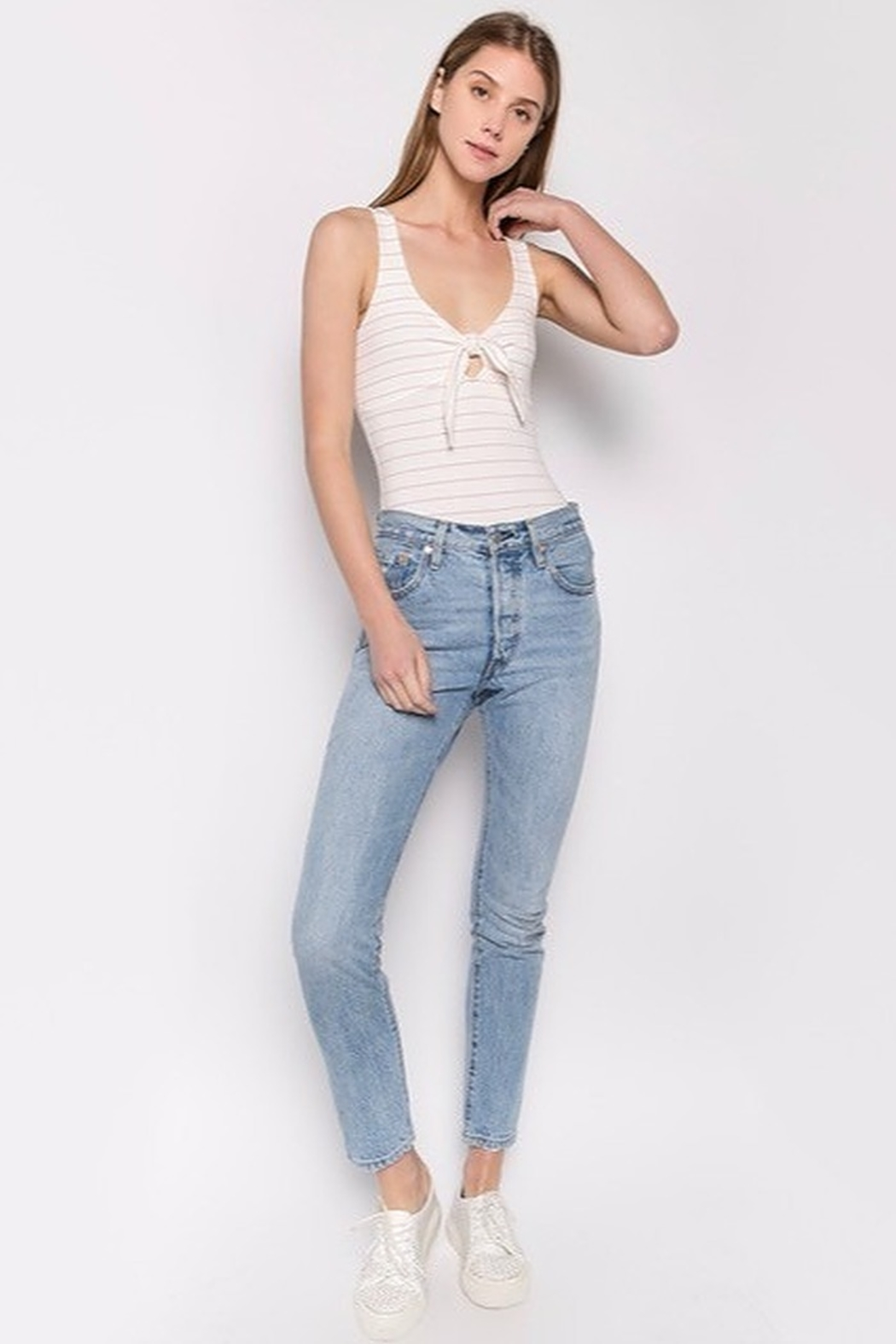 Fore Collection Knot Front Bodysuit - Front Full Image