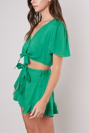 Mustard Seed Knot-Front Cropped Top - Front full body