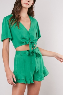 Mustard Seed Knot-Front Cropped Top - Product List Image