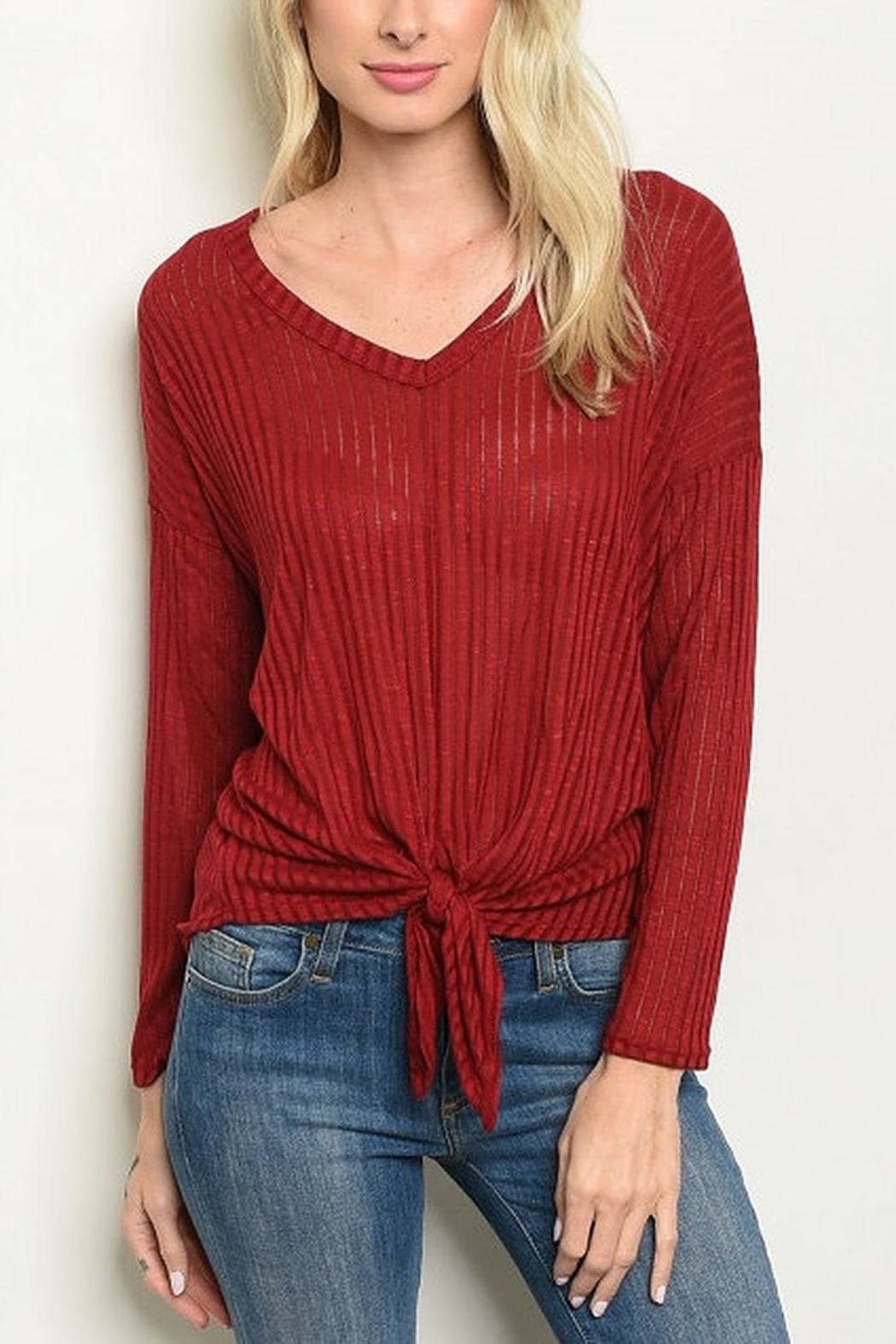 Lyn -Maree's Knot Front Long Sleeve - Main Image