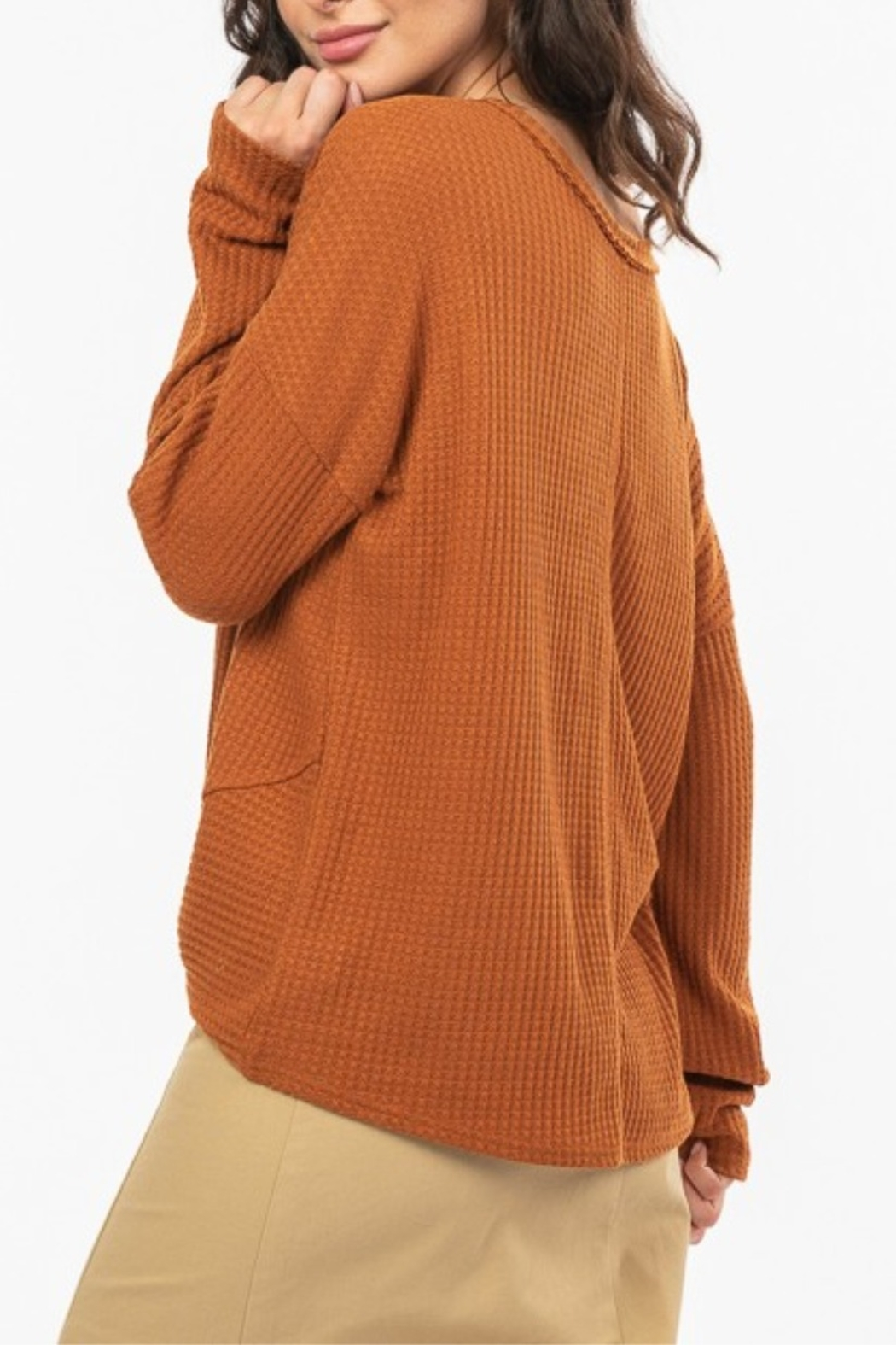 Very J  Knot Front Waffle Knit - Front Full Image
