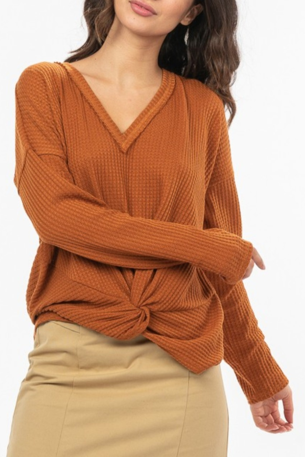 Very J  Knot Front Waffle Knit - Main Image