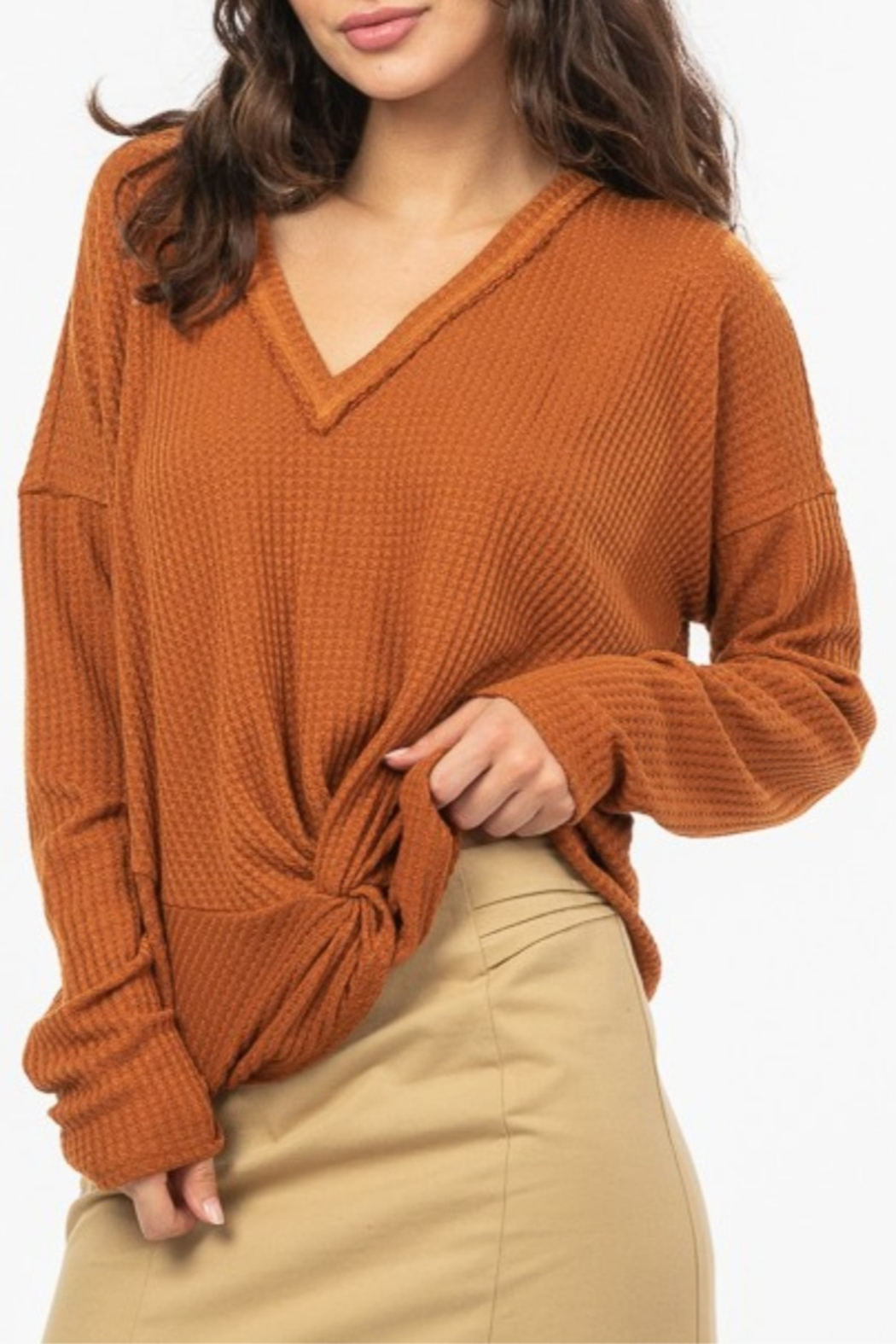 Very J  Knot Front Waffle Knit - Side Cropped Image