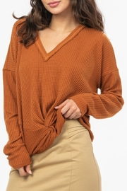 Very J  Knot Front Waffle Knit - Side cropped